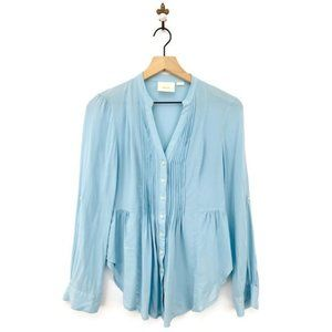 Anthropologie Maeve Pleated Button Up Blouse Blue